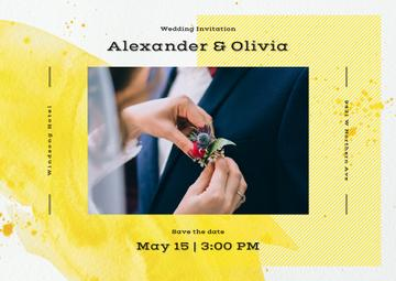Wedding Invitation Bride Decorating Groom's Suit