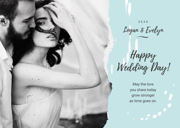 Wedding Greeting Tender Embracing Newlyweds in Blue