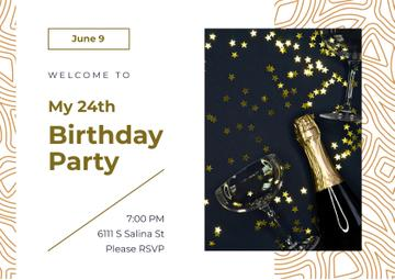Birthday Party Invitation Confetti and Champagne Bottle