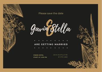 Wedding Invitation Frame with Flowers Illustrations