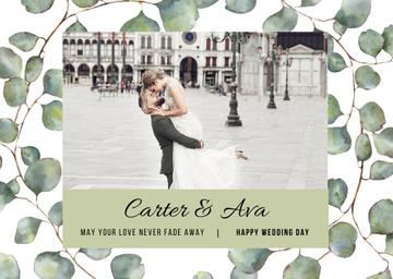 Wedding Greeting Happy Embracing Newlyweds