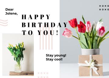 Birthday Greeting Pink Flowers in Vases