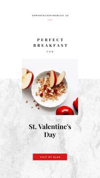 Healthy breakfast on Valentine's Day