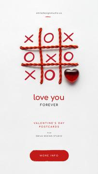 Valentine's Day Card with Tic-tac-toe game