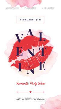 Valentine's Party Annoucement with Sexy Red lips print