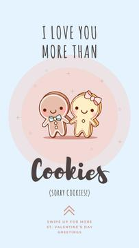 Valentine's Day Card with Cute gingerbread cookies