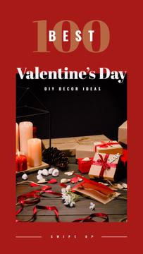 Valentines gifts with candles and flowers