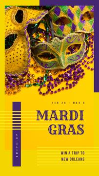 Mardi Gras Trip Offer Carnival Masks in Yellow