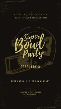 Superbowl Party Invitation with American football helmet