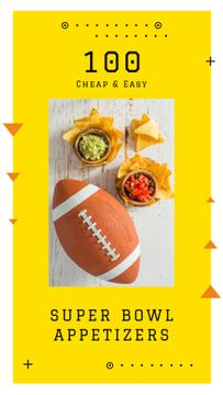 Rugby ball with snacks