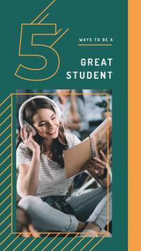 Young woman in headphones reading book