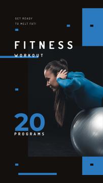 Girl training on pilates ball