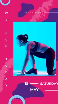Woman runner at the start