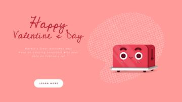 Valentine's Day Cute Red Toaster with Heart