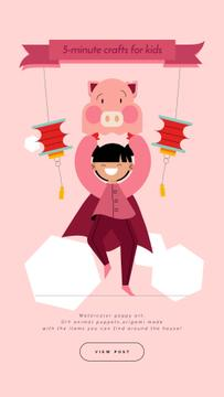 Crafts for Kids Guide Girl in Pig Costume
