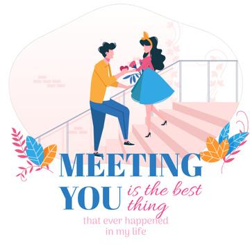 Valentine's Card with Happy romantic Couple
