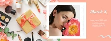Makeup Gift Girl Holding  March 8 Flower