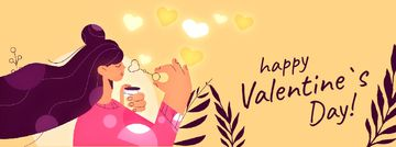 Valentine's Day Girl Blowing Heart-Shaped Bubbles