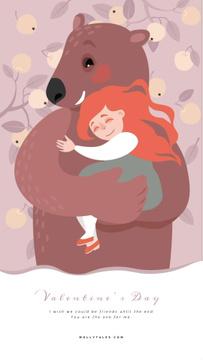 Valentine's Day Pretty Girl Hugging Bear