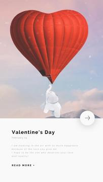 Elephant Flying on Valentine's Day Balloon