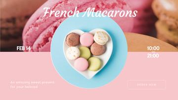 Valentine's Day Macarons on heart-shaped plate