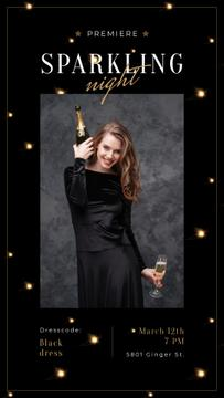 Woman in Holiday dress holding Champagne