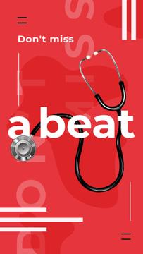 Doctors stethoscope on red background