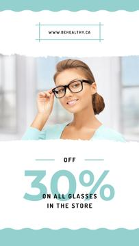 Sale Ad Woman wearing eyeglasses