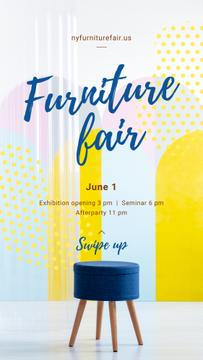 Furniture Expo Annoucement with Blue minimalistic chair