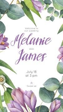 Wedding Invitation in Frame with saffron flowers