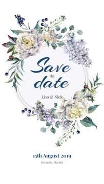 Save the Date in Flowers Wreath