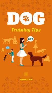 Owner training dog