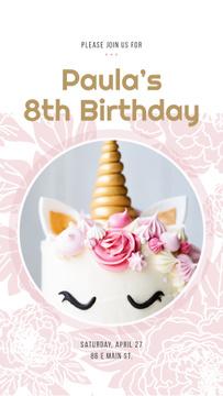 Cake decorated as unicorn