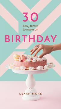 Woman decorating pink Birthday Cake