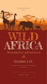 Wild African animals in natural habitat