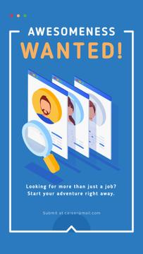 Magnifying glass searching candidates
