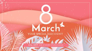 Tropical palm trees Discount on Women's Day