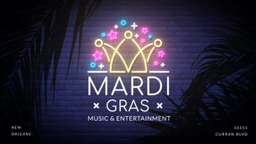 Mardi gras crown neon light
