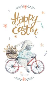 Easter Bunny riding bicycle