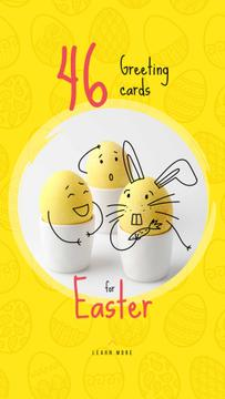Colored Cute Easter eggs on Yellow