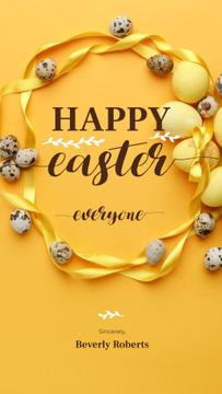 Colored Easter eggs on yellow
