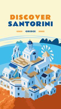 Santorini city view illustration