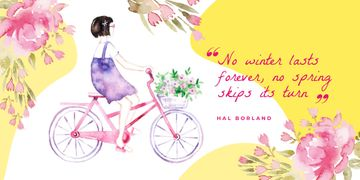 Girl riding bicycle with flowers