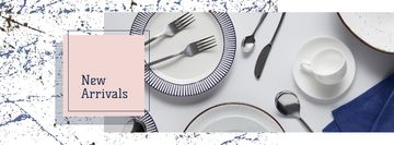Porcelain plates and cutlery