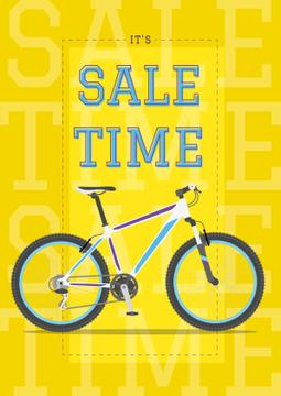 Sale Announcement Modern Blue Bicycle on Yellow