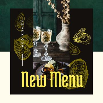 New Menu Ad with Served cooked mussels