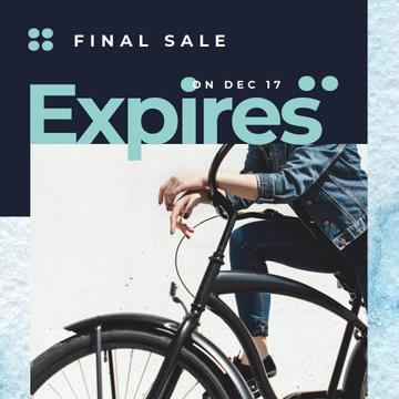 Sale Ad with Girl by black bicycle