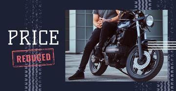 Biker by his motorcycle