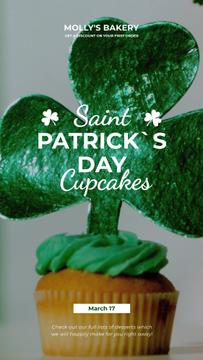 Saint Patrick's Day Cupcake with Shamrock