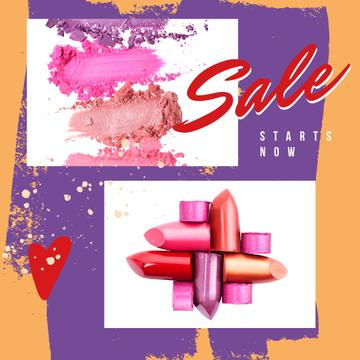 Sale Ad with Colourful lipstick pieces
